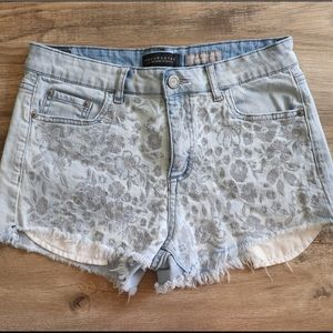 High Waisted Embroidered Floral Denim Shorts